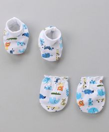 Cucumber Mittens And Booties Set Animal Print - Blue