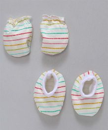 Cucumber Mittens And Booties Set Stripes Print - Multicolor