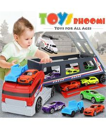 Toys Bhoomi Race Along With Huge Long Haul Transport Truck With 8 Cars - Multicolour