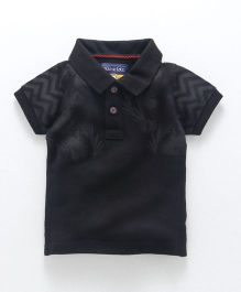 Olio Kids Half Sleeves Polo T-Shirt Leaf Print - Black