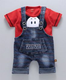 Wow Clothes Denim Dungaree With T-Shirt Puppy Design - Red Blue