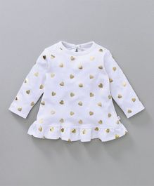 Babyoye Full Sleeves Frock Glittery Heart Print - White