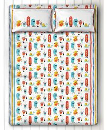 Silverlinen Silly Monsters Double Bed Sheet with Two Pillow Covers - Red & Yellow
