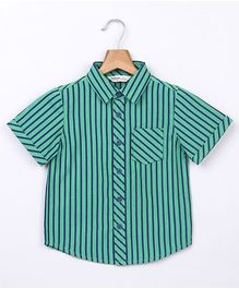Beebay Stripe Shirt With Patch Pocket - Green