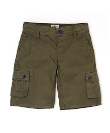 Pepe Jeans Cargo Style Solid Shorts - Dark Brown
