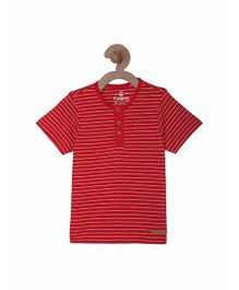 Campana Stripes Henley T-Shirt - Red