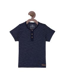 Campana Stripes Henley T-Shirt - Navy Blue