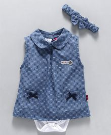 Wow Girl Frock Style Printed Onesie With Headband  - White Blue