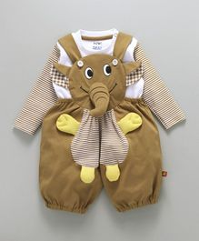Wow Clothes Elephant Applique Dungaree With T-Shirt - Beige