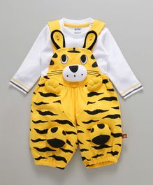 Wow Clothes Dungaree With T-Shirt Animal Design - White Yellow