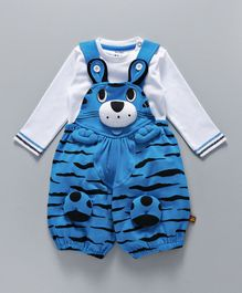 Wow Dungaree With T-Shirt Animal Design - White Blue