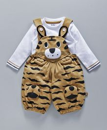 Wow Dungaree With T-Shirt Animal Design - White  Beige