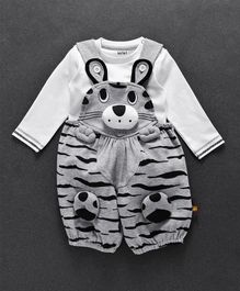 Wow Dungaree With T-Shirt Animal Design - White Grey