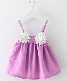 2 Footya Flower Applique Dress - Purple