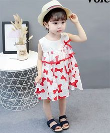 2 Footya Bow Print Dress - White & Red