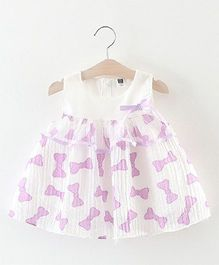 2 Footya Bow Print Dress - White & Light Purple