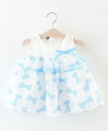 2 Footya Bow Print Dress - White & Blue