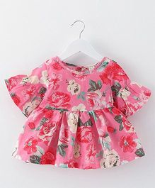 2 Footya Flower Print Dress - Pink
