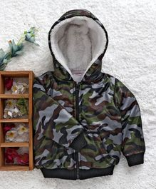 Babyhug Full Sleeves Hooded Jacket Camouflage Design - Multicolour