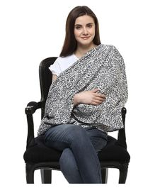 Wobbly Walk Nursing Scarf Leopard Print - Black White