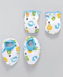 Babyhug Mittens & Booties Sets Alien Print - White & Sky Blue