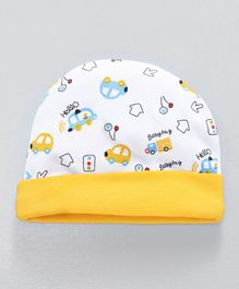 Babyhug Round Cap Vehicle Print - Yellow