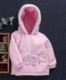 Babyhug Full Sleeves Hooded Jacket Teddy Patch - Light Pink