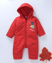 Babyhug Full Sleeves Hooded Romper Elephant Patch - Red