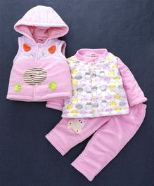 Babyhug Winter Wear Full Sleeves Suit Cow Patch - Pink