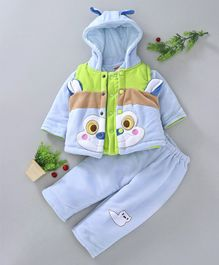 Babyhug Winter Wear Full Sleeves Suit Animal Embroidery - Blue Green