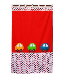 Kadambaby Kids Room Curtain Traffic Jam Car Print - Red