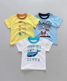 Ohms Half Sleeves Tees Marine & Carrot Print Pack of 3 - Yellow Blue White