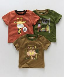 Ohms Half Sleeves Tees Pack of 3 - Orange Green Brown