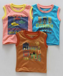 Ohms Sleeveless T-Shirts Pack of 3 - Pink Sky Blue Brown