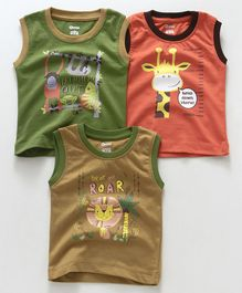 Ohms Sleeveless T-Shirt Animal Print Pack of 3 - Coral Green Brown