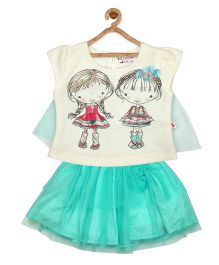 Rose Couture Dolls Printed Top & Skirt Set - Green