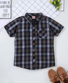 Babyhug Half Sleeves Shirt Checks Print - Brown