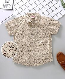 Babyhug Half Sleeves Shirt Floral Print - Cream