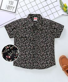 Babyhug Half Sleeves Shirt Floral Print - Black