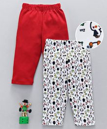 Babyhug Full Length Leggings Penguin Print Pack of 2 - Red White