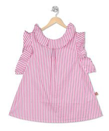 Budding Bees Stripes Frill Top - Pink