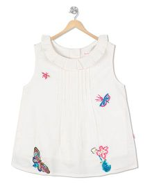 Budding Bees Butterfly Applique Top - Beige