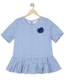 Budding Bees Striped Flare Dress - Blue