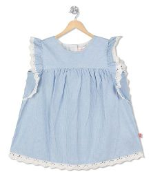 Budding Bees Lace Frill Sleeves Top - Blue
