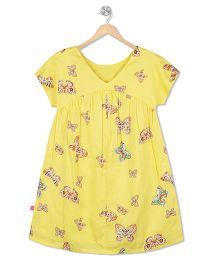 Budding Bees Butterfly Printed Dress - Yellow