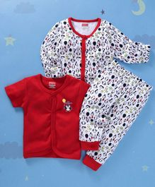 Babyhug Full And Half Sleeves Vests And Lounge Pant Penguin Print - White Red