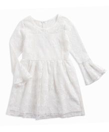 Pre Order - Awabox Netted Embroidered Pretty Dress - White