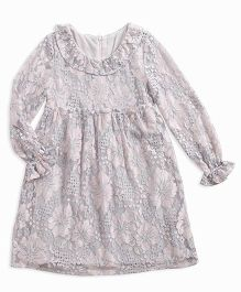 Pre Order - Awabox Netted Embroidered Pretty Dress - Gray