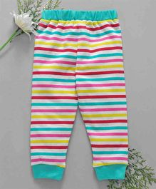 Babyhug Full Length Striped Cotton Lounge Pants - Blue Red Pink