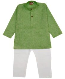 KID1 Solid Kurta & Pajama Set - Green